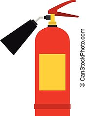 Red fire extinguisher icon, flat style - Red fire...