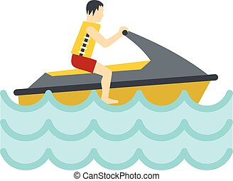 Jet ski rider icon, flat style - Jet ski rider icon in flat...