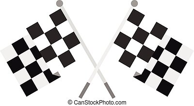 Crossed chequered flags icon, flat style - Crossed chequered...