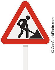 Roadworks sign icon, flat style - Roadworks sign icon in...
