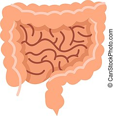 Intestines icon, flat style - Intestines icon in flat style...