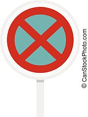 Clearway sign icon, flat style - Clearway sign icon in flat...