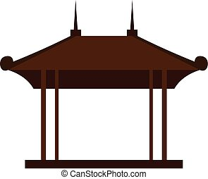 Wooden pavilion icon, flat style - Wooden pavilion icon in...