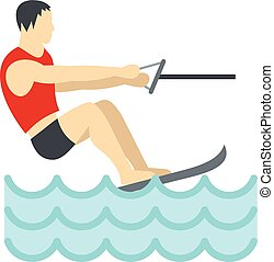 Water skiing icon, flat style - Water skiing icon in flat...