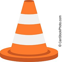 Traffic cone icon, flat style - Traffic cone icon in flat...
