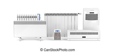 Electric heaters on white - Different types of domestic...