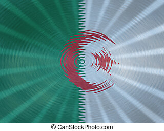 Algerian flag background with ripples and rays illustration