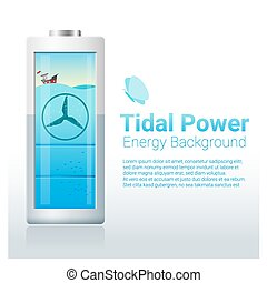 Green energy concept background with tidal energy charging...