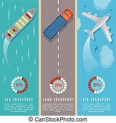 Transportation top view infographics vector illustration. Transport and delivery by land transport, sea and plane