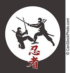 Japanese ninja vector poster. Asian martial arts assassin...