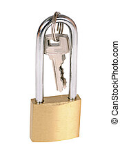 padlock with keys isolated on white background