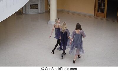 Corridor of the concert hall. Three girlfriends walk. Girls...