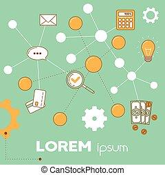 Hub business illustration, line design concept on...