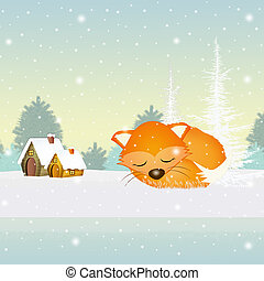 red fox in winter - illustration of red fox in winter