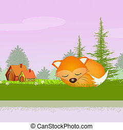red fox in spring - illustration of red fox in spring