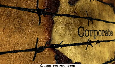 Corporate text against barbwire