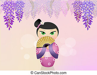 Kokeshi doll and wisteria flowers - illustration of Kokeshi...