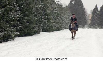 Man horseback riding a big brown horse in beautiful snowy winter landscape. Male rider cantering with large elegant stallion along the snowy path through the ranch fields in white winter .