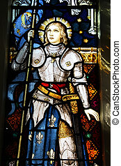 Joan of Arc - Stained glass in St Mary of the Angels,...