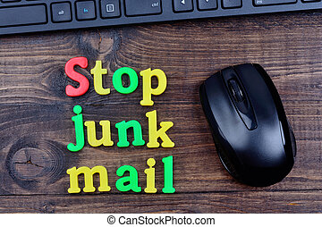 Stop junk mail words on table - Stop junk mail words on...