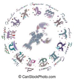zodiac sign Cancer 13 characters, vector illustration
