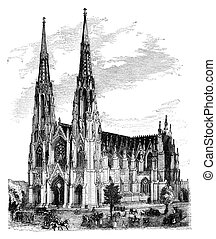 St. Patrick's Cathedral, New York. Illustration originally...