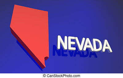Nevada NV Red State Map Name 3d Illustration