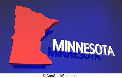 Minnesota MN Red State Map Name 3d Illustration