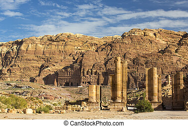 Ancient abandoned rock city of Petra in Jordan tourist...