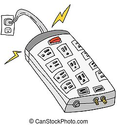 Plugged In Surge Protector - An image of a plugged in surge...