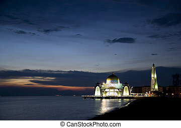 Straits Mosque at Dusk - Straits Mosque located at Malacca,...