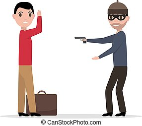 Vector cartoon robber with a gun robbing a man - Vector...