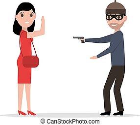 Vector cartoon robber with a gun robbing a woman - Vector...