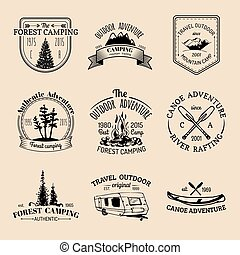 Vector set of vintage camping logos. Retro signs collection...