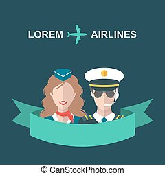 Vector illustration of plane, stewardess and pilot with...