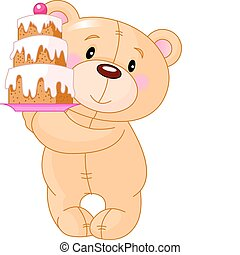 Teddy Bear with cake - Illustration of cute Teddy Bear...
