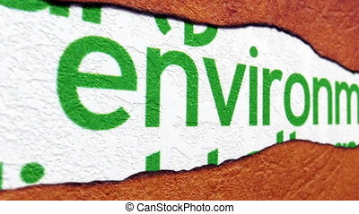 Environment text on torn paper