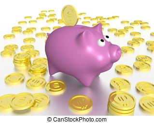 Piggybank - A piggybank in pink surrounded of golden coins
