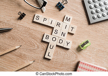 Spirit soul mind and body words made of wooden cubes
