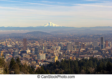 Mount Hood over City of Portland Oregon