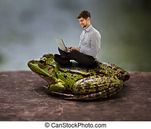 Sitting cozy on a toad and working on laptop