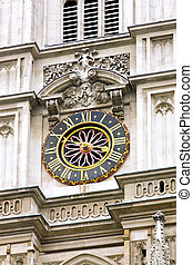 Church clock - Clock at church tower with golden roman...