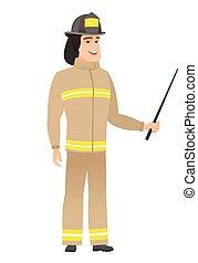 Caucasian firefighter holding pointer stick. Full length of...