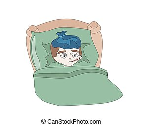 Illustration of a Sick boy lying in bed