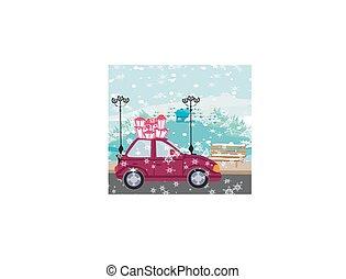 car with christmas gift box