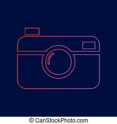 Digital photo camera sign. Vector. Line icon with gradient...
