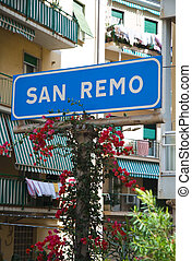 Station San Remo - old sign to the railway station of San...