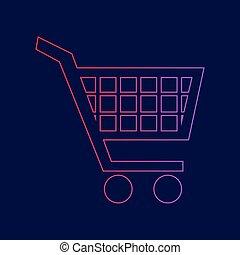 blauwe, shoppen, helling, meldingsbord, kar, donker, achtergrond, Kleuren,  Vector, viooltje, lijn, rood, pictogram