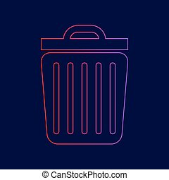 Trash sign illustration. Vector. Line icon with gradient from red to violet colors on dark blue background.