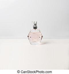 Perfume bottle on white background. Perfumery, cosmetics.